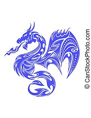 tatuaggio, tribale, indaco, drago