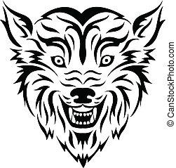 tatuaggio, tribale, lupo