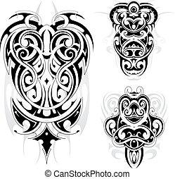 tatuaggio, tribale, maori, set