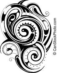 tatuaggio, tribale, maori
