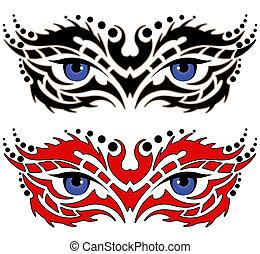 tatuaggio, tribale, occhi