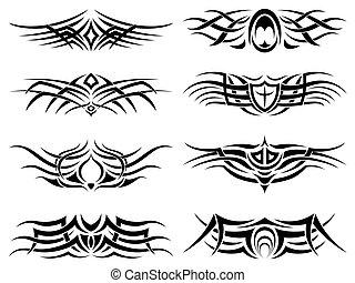 tatuaggio, tribale, pacco
