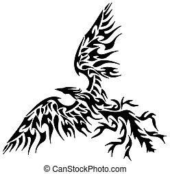 tatuaggio, tribale, phoenix