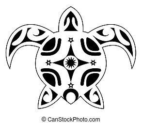 tatuaggio, tribale, polynesi, tartaruga