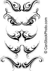 tatuaggio, tribale, set, arte