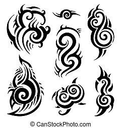 tatuaggio, tribale, set.