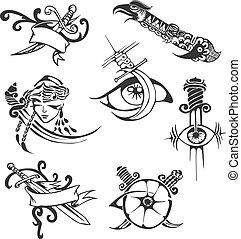 tatuaggio, tribale, set, lame, stampini