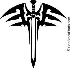 tatuaggio, tribale, spada