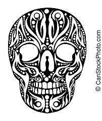 tatuaggio, tribale, vettore, arte, cranio