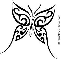 tatuaggio, tribale, vettore, buterfly