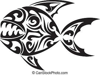 tatuaggio, tribale, vettore, fish