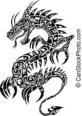 tatuaggio, tribale, vettore, iconic, drago