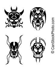 tatuaggio, tribale, vettore, set, cranio