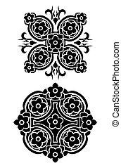 tatuaggio, tribale, vettore, set, fiori