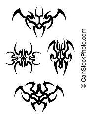 tatuaggio, tribale, vettore, set