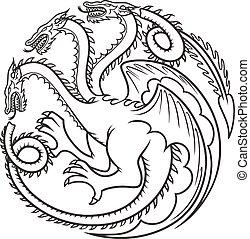 tatuaggio, vettore, drago