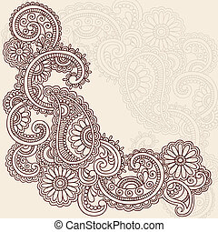 tatuaggio, vettore, henné, mehndi, doodles