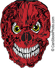 tatuaggio, vettore, rosso, cranio