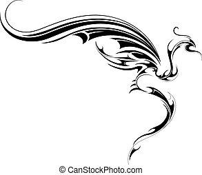 tatuaggio, volare, drago