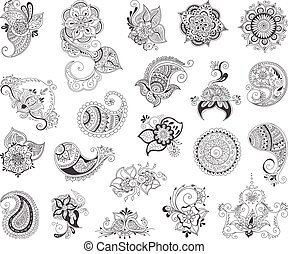 tatuaje, alheña, conjunto, elemento