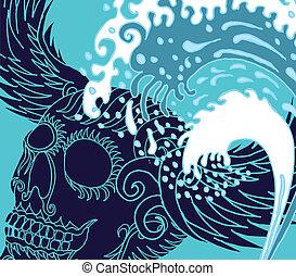tatuaje, arte, cráneo, onda grande, vector