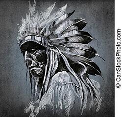 tatuaje, arte, retrato, de, indio americano, cabeza, encima,...