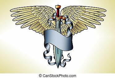 tatuaje, bandera, retro, espada