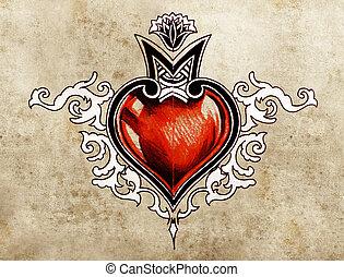 tatuaje, bosquejo, corazón, tribal, valentine, day., arte, ...