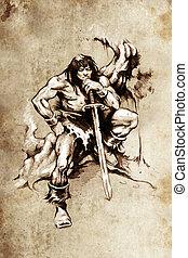tatuaje, bosquejo, guerrero, grande, espada, arte