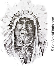 tatuaje, bosquejo, hecho, jefe, indio americano, mano,...
