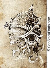 tatuaje, bosquejo, hecho, mano, guerrero, arte