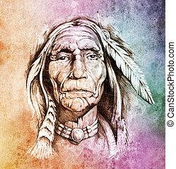 tatuaje, bosquejo, indio, colorido, cabeza, norteamericano, ...