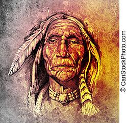 tatuaje, bosquejo, indio, colorido, cabeza, norteamericano,...