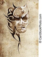 tatuaje, bosquejo, monstruo, tribal, cabeza, diseño, arte