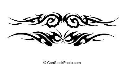 tatuaje, bosquejo, tribal, pulsera, negro, arte