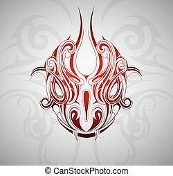 tatuaje, cabeza, serpiente