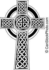 tatuaje, celta, arte, símbolo, -, cruz, o