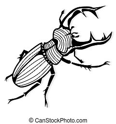 tatuaje, cervus, ciervo, lucanus, vector, escarabajo, macho...