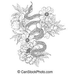 tatuaje, colorido, serpientes, books., flowers., arte
