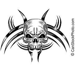 tatuaje, diseño, cráneo