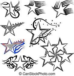 tatuaje, diseño, estrella