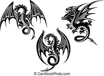 tatuaje, diseño, extendido, alas, dragones