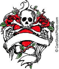tatuaje, emblema, cráneo, roca