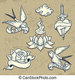 tatuaje, escuela, conjunto, viejo, elementos, cráneos