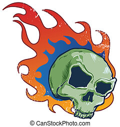 tatuaje, estilo, cráneo, llameante, ilustración, vector