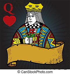 tatuaje, estilo, reina, ilustración, corazones, bandera