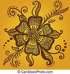 tatuaje, flor, resumen, alheña, indio, mehndi