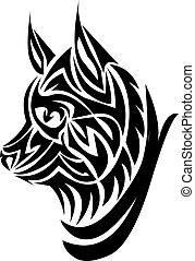 tatuaje, Grabado, diseño, zorro, vendimia