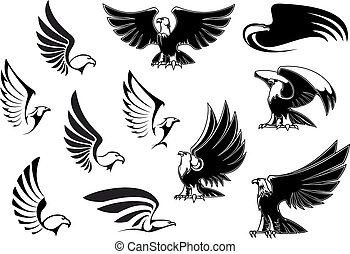 tatuaje, heráldico, diseño, águilas, o, logotipo