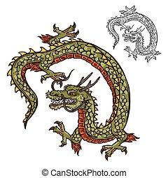 tatuaje, japonés, dragón, religión, diseño, o, mascota